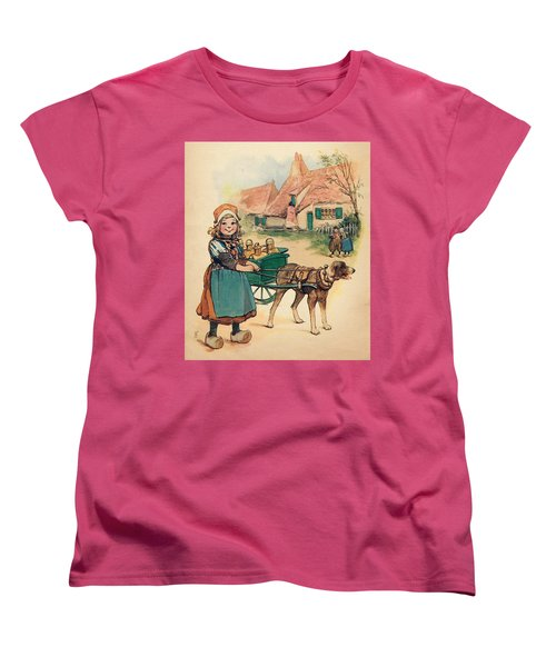 Little Dutch Girl With Milk Wagon Women's T-Shirt (Standard Cut) by Reynold Jay