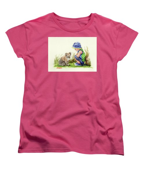 Women's T-Shirt (Standard Cut) featuring the painting Little Friends Watercolor by Margaret Stockdale