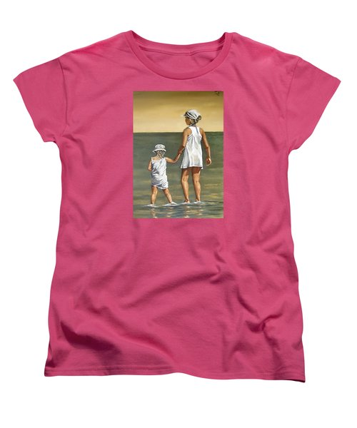 Women's T-Shirt (Standard Cut) featuring the painting Little Sisters by Natalia Tejera