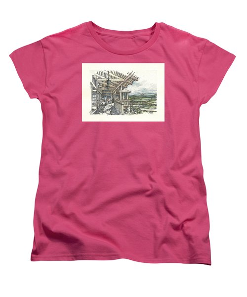 Women's T-Shirt (Standard Cut) featuring the drawing Lodge 2 by Andrew Drozdowicz