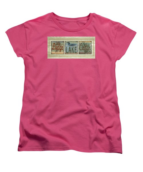 Women's T-Shirt (Standard Cut) featuring the painting Lodge Lake Cabin Sign by Joe Low