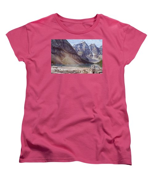 Logs At Lake Moraine Women's T-Shirt (Standard Cut) by Patricia Hofmeester