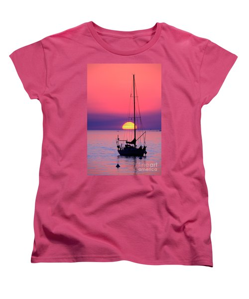 Women's T-Shirt (Standard Cut) featuring the photograph Lonely Sunset by Bernardo Galmarini