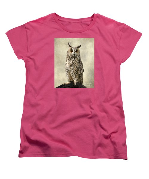 Long Eared Owl Women's T-Shirt (Standard Cut) by Linsey Williams