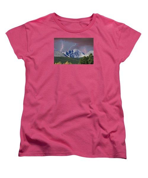 Longs Peak Lightning Storm Fine Art Photography Print Women's T-Shirt (Standard Cut) by James BO  Insogna