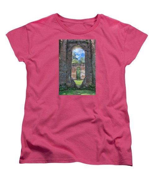 Looking Through The Old Sheldon Church Women's T-Shirt (Standard Cut) by Patricia Schaefer