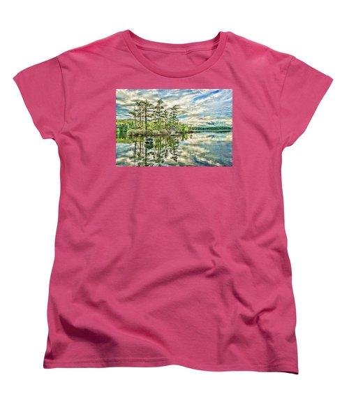 Loon Island Women's T-Shirt (Standard Cut) by Daniel Hebard