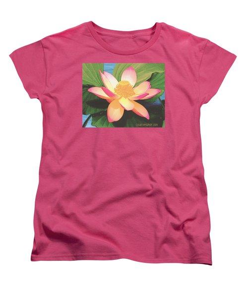 Women's T-Shirt (Standard Cut) featuring the painting Lotus Flower by Sophia Schmierer