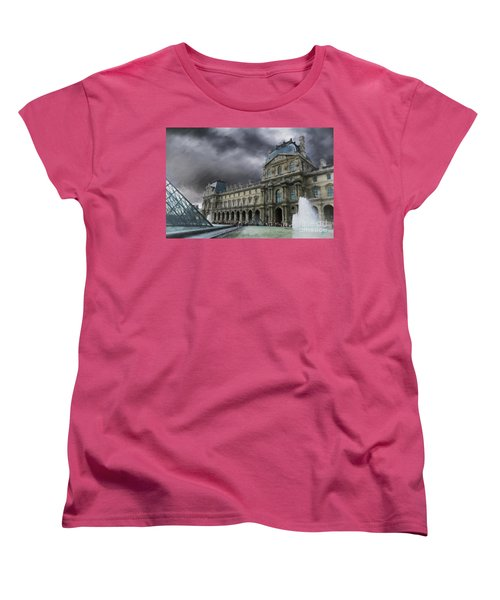 Women's T-Shirt (Standard Cut) featuring the mixed media Louvre by Jim  Hatch