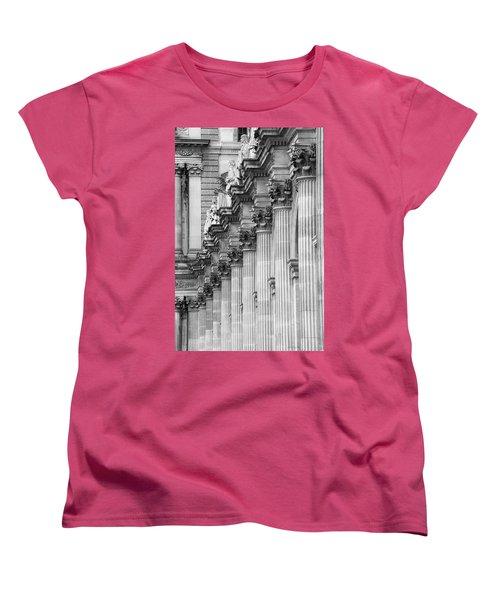Women's T-Shirt (Standard Cut) featuring the photograph Louvre Pillars, Paris, 2015 by Hitendra SINKAR