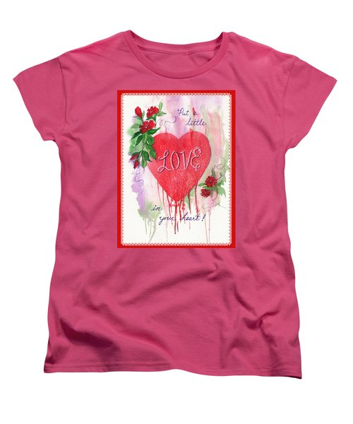Women's T-Shirt (Standard Cut) featuring the painting Love Valentine by Marilyn Smith