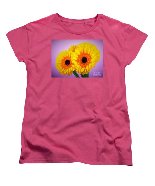 Lovely And Beautiful - Gerbera Daisies Women's T-Shirt (Standard Cut) by Ray Shrewsberry