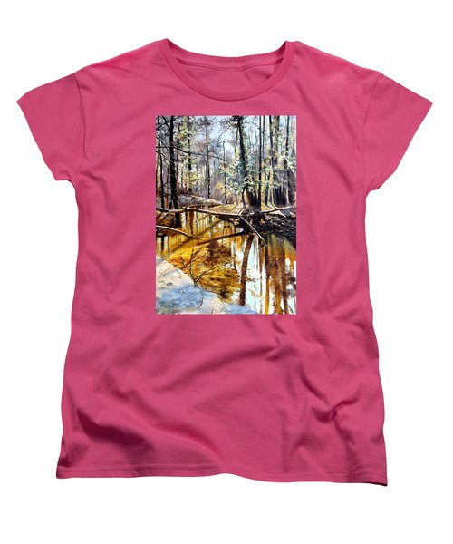 Women's T-Shirt (Standard Cut) featuring the painting  Lubianka-2-river by Henryk Gorecki