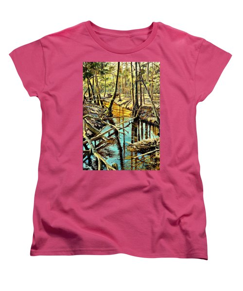 Women's T-Shirt (Standard Cut) featuring the painting  Lubianka-3-river by Henryk Gorecki