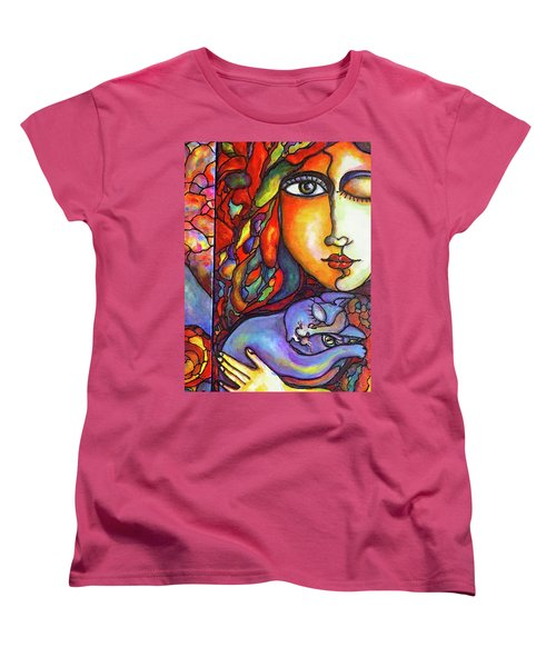 Women's T-Shirt (Standard Cut) featuring the painting Lucid Dreams by Rae Chichilnitsky