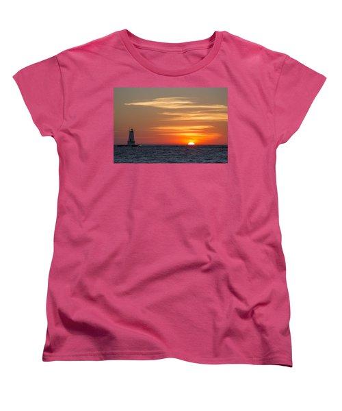 Women's T-Shirt (Standard Cut) featuring the photograph Ludington North Breakwater Light At Sunset by Adam Romanowicz