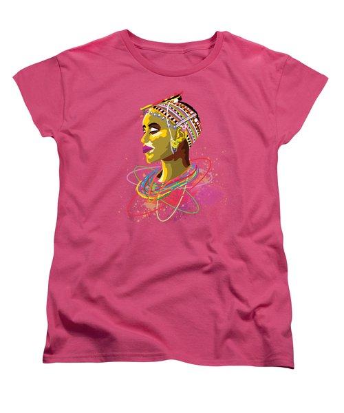 Women's T-Shirt (Standard Cut) featuring the painting Maasai Beauty by Anthony Mwangi