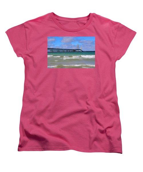 Mackinac Bridge Women's T-Shirt (Standard Cut) by Michael Rucker