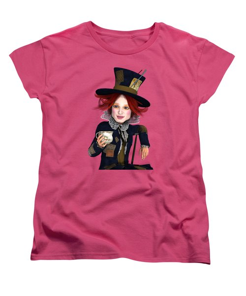 Mad Hatter Portrait Women's T-Shirt (Standard Cut) by Methune Hively