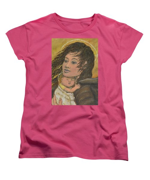 Women's T-Shirt (Standard Cut) featuring the painting Madonna Of The Prairie Wind by Kathleen McDermott