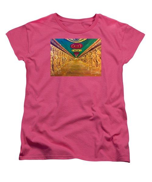 Women's T-Shirt (Standard Cut) featuring the painting Madurai Meenakshi Temple Mandapam by Brindha Naveen