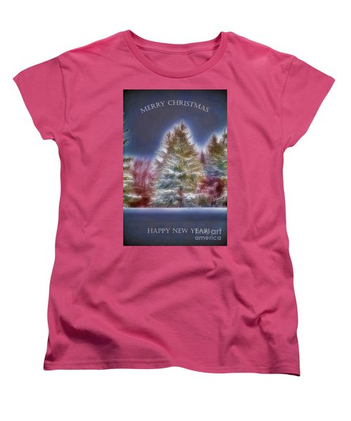 Merrry Christmas And Happy New Year Women's T-Shirt (Standard Cut) by Jim Lepard