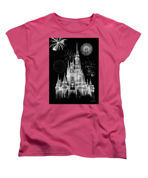 Magic Kingdom Castle In Black And White With Fireworks Walt Disney World Mp Women's T-Shirt (Standard Cut) by Thomas Woolworth