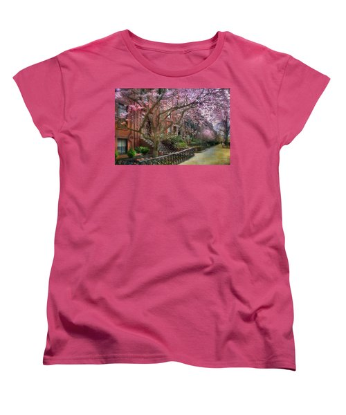 Women's T-Shirt (Standard Cut) featuring the photograph Magnolia Trees In Spring - Back Bay Boston by Joann Vitali