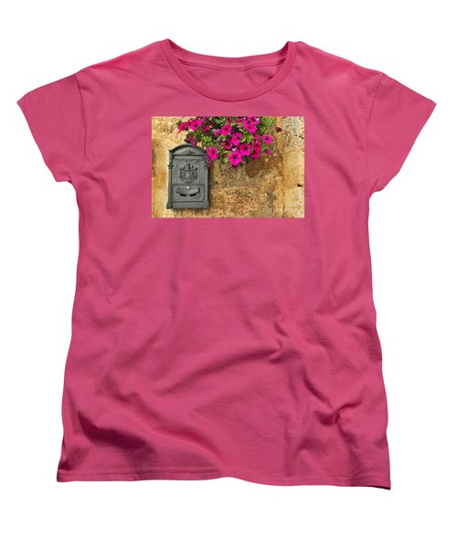 Mailbox With Petunias Women's T-Shirt (Standard Cut) by Silvia Ganora