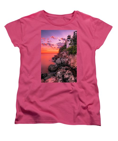 Women's T-Shirt (Standard Cut) featuring the photograph Maine Bass Harbor Lighthouse Sunset by Ranjay Mitra