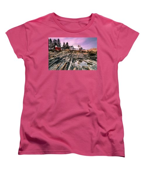 Maine Pemaquid Lighthouse Reflection In Summer Women's T-Shirt (Standard Cut) by Ranjay Mitra