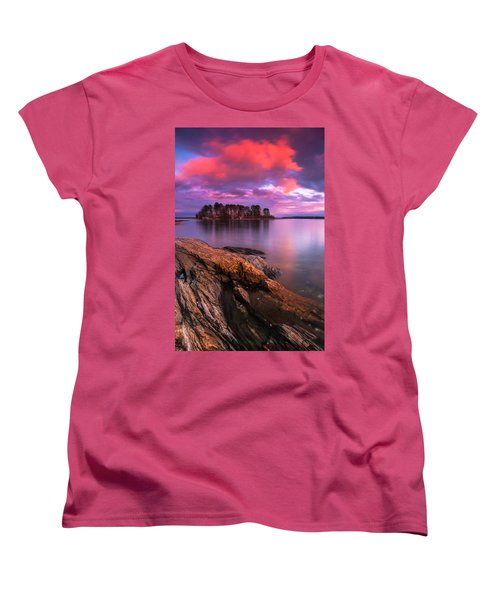 Maine Pound Of Tea Island Sunset At Freeport Women's T-Shirt (Standard Cut) by Ranjay Mitra