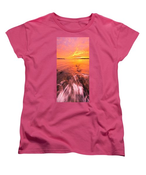 Maine Rocky Coastal Sunset At Kettle Cove Women's T-Shirt (Standard Cut) by Ranjay Mitra
