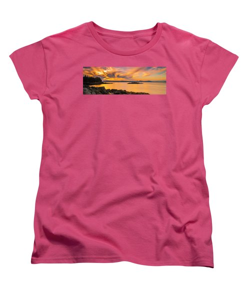 Maine Rocky Coastal Sunset In Penobscot Bay Panorama Women's T-Shirt (Standard Cut) by Ranjay Mitra