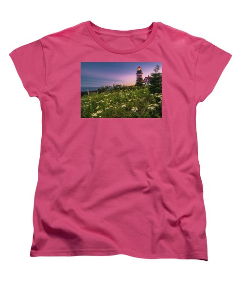 Maine West Quoddy Head Lighthouse Sunset Women's T-Shirt (Standard Cut) by Ranjay Mitra