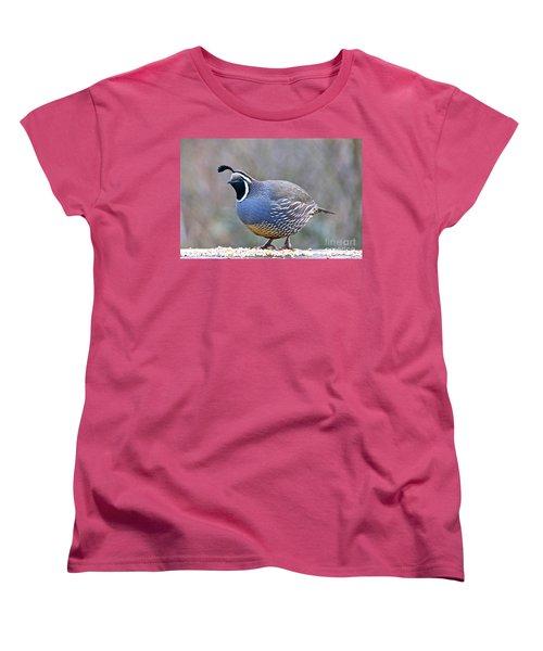 Male California Quail Women's T-Shirt (Standard Cut) by Sean Griffin