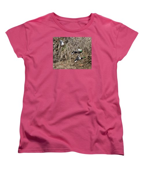 Women's T-Shirt (Standard Cut) featuring the photograph Mallard Ducks 2 by David Lester