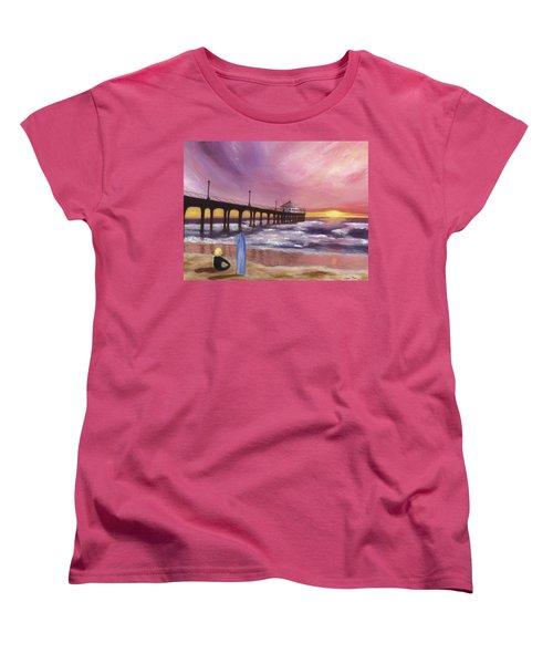 Manhattan Beach Pier Women's T-Shirt (Standard Cut) by Jamie Frier