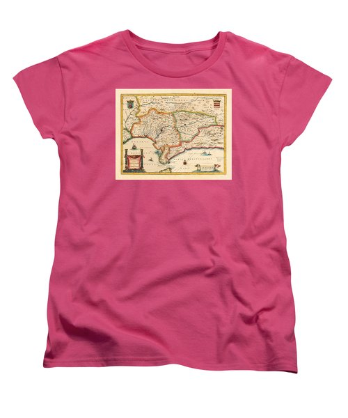 Map Of Andalusia 1650 Women's T-Shirt (Standard Cut) by Andrew Fare