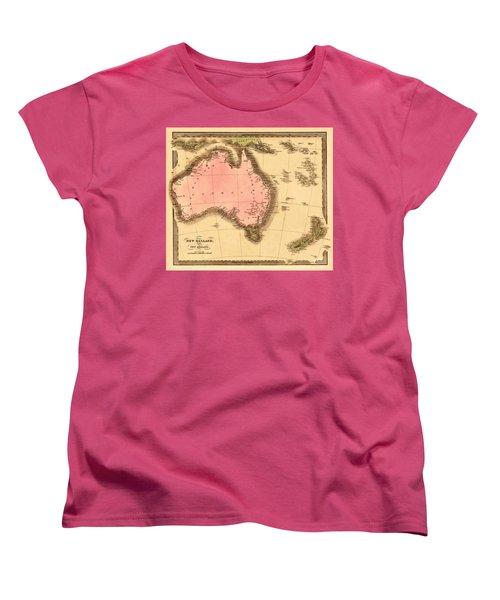 Map Of Australia 1840 Women's T-Shirt (Standard Cut) by Andrew Fare