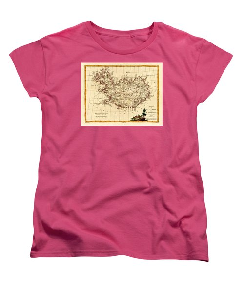 Map Of Iceland 1791 Women's T-Shirt (Standard Cut) by Andrew Fare