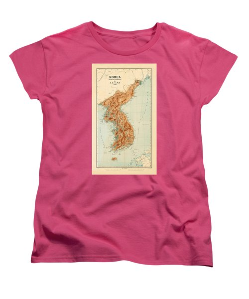 Map Of Korea 1903 Women's T-Shirt (Standard Cut) by Andrew Fare
