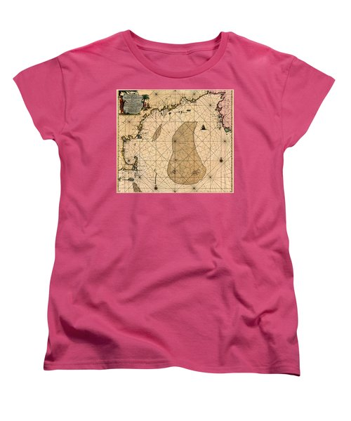 Map Of New England 1700 Women's T-Shirt (Standard Cut) by Andrew Fare
