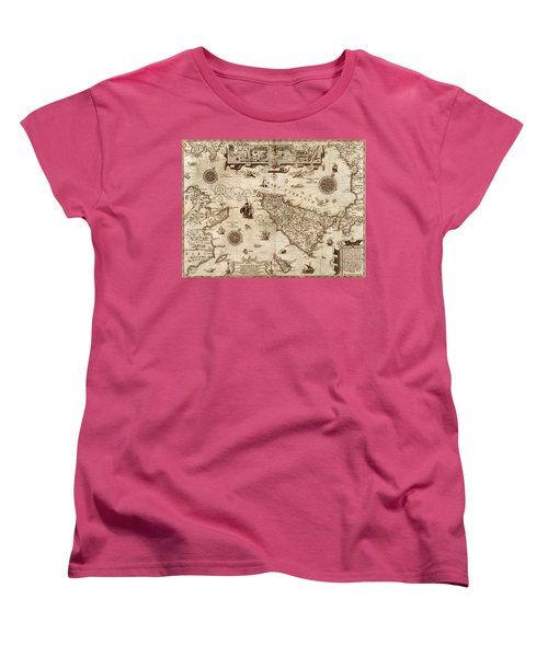 Map Of Sicily 1594 Women's T-Shirt (Standard Cut) by Andrew Fare