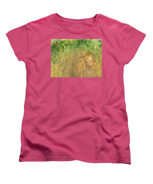 Women's T-Shirt (Standard Cut) featuring the painting Mara The Lioness by Vicki  Housel
