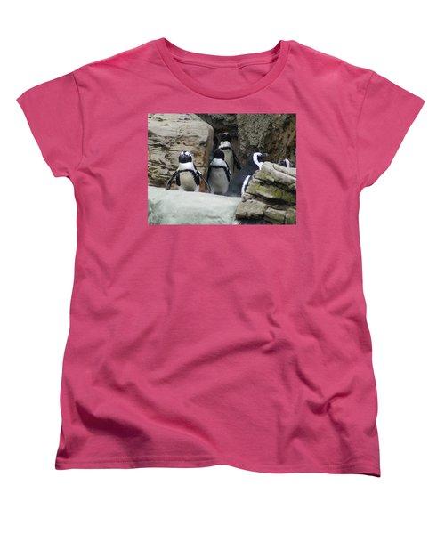 March Of The Penguins Women's T-Shirt (Standard Cut) by B Wayne Mullins
