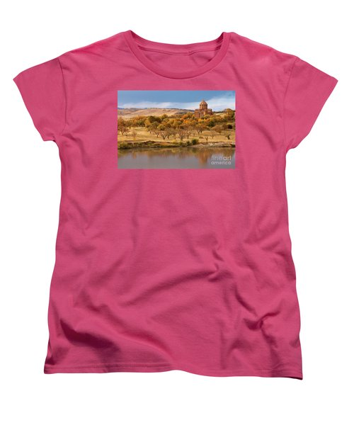 Marmashen Monastery Reflected On Lake At Autumn, Armenia Women's T-Shirt (Standard Cut) by Gurgen Bakhshetsyan