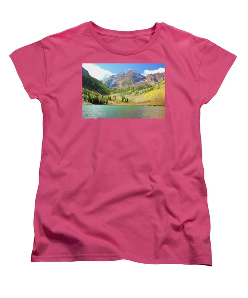 Women's T-Shirt (Standard Cut) featuring the photograph The Maroon Bells Reimagined 2 by Eric Glaser