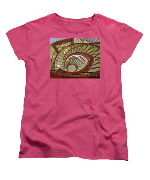 Women's T-Shirt (Standard Cut) featuring the photograph Marttin Hall Spiral Stairway by Gregory Daley  PPSA