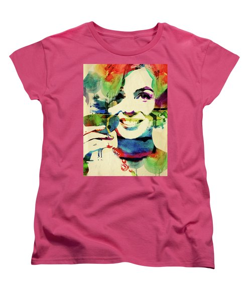 Marilyn And Her Drink Women's T-Shirt (Standard Cut) by Mihaela Pater